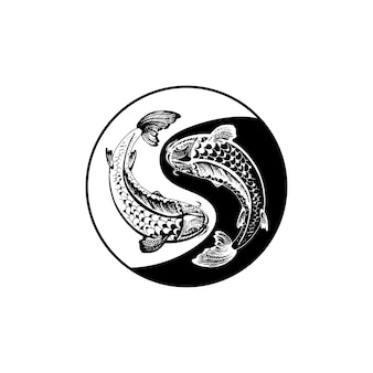 Dwa karpie koi. symbol yin yang. vintage grawerowanie ilustracja monochromatyczne. na białym tle