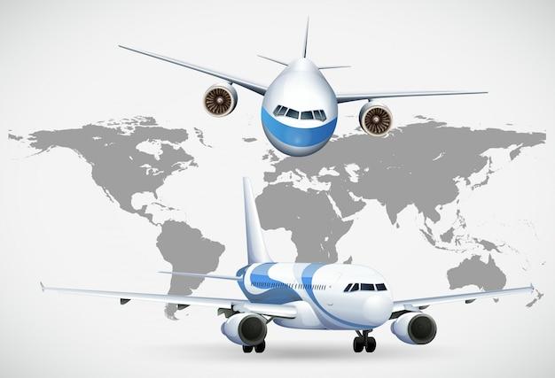Dwa kąty samoloty na mapie świata