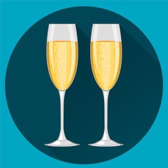 Dwa kieliszki do szampana