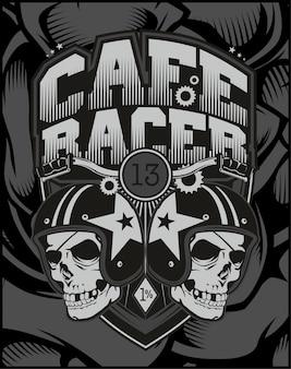 Dwa kierowca kawiarni kasku czaszki.