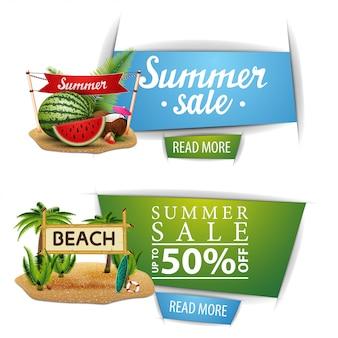 Dwa klikalne banery ze sprzedażą letnią z przyciskami