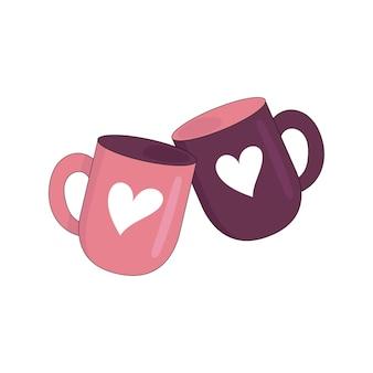 Dwa koła z sercami. romantyczna randka, kawa. data kochanków. ilustracja wektorowa na białym tle.