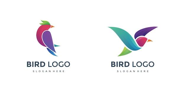 Dwa kolorowe logo ptaków