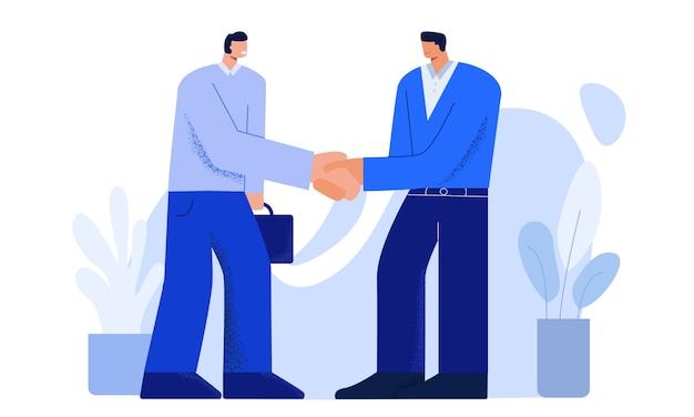 Dwa kreskówek męskiej osoby chwiania uśmiechnięte ręki ma ofertę nowa akcydensowa płaska ilustracja