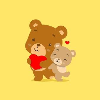 Dwa kreskówka niedźwiedź z różnym kolorem stojącym i trzymając czerwone serce