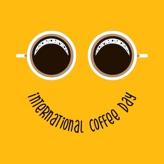 Dwa kubek kawy jak oczy, tekst międzynarodowy dzień kawowy jak uśmiech