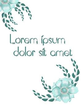Dwa kwiaty otoczone gałązkami z miejscem na tekst w środku. kolor turkusowy