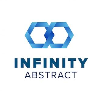 Dwa logo sześciokątnych ogniw łańcucha. piękny szablon logo nieskończoności. niebieski streszczenie symbol