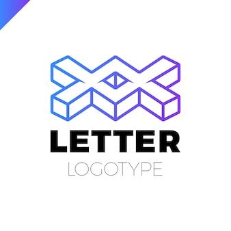 Dwa lub podwójny projekt ikona logo isometric letter x.