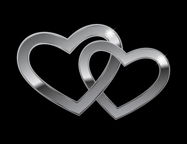 Dwa metalowe serca