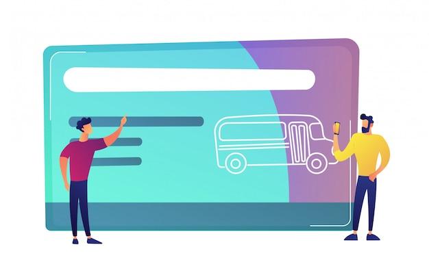 Dwa mężczyzna blisko ogromnej transport publiczny podróży podróży karty z autobusową wektorową ilustracją.