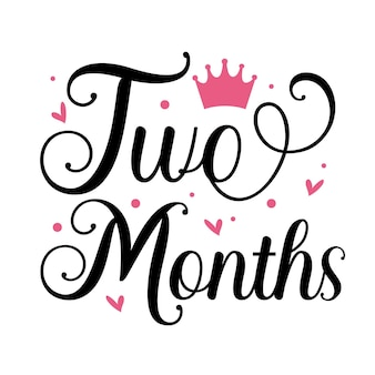 Dwa miesiące unikalny element typografii premium vector design