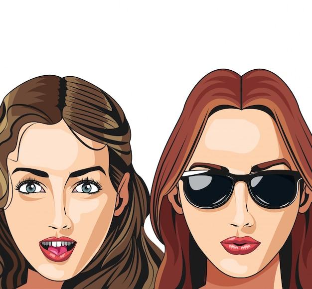 Dwa młodej dziewczyny młodego szczęśliwego fryzura okulary przeciwsłoneczni