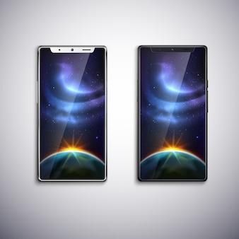 Dwa nowoczesne telefony z wszystkimi ekranami
