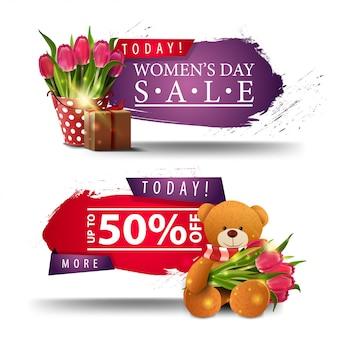 Dwa nowoczesne zniżki transparenty dzień kobiet z przyciskami