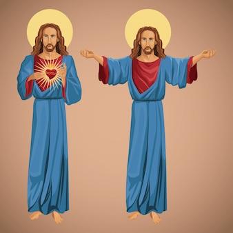 Dwa obrazu jezusa chrystusa najświętszego serca
