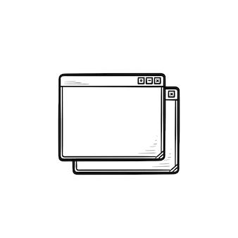 Dwa okna przeglądarki ręcznie rysowane konspektu doodle ikona. internet i interfejs, kaskadowe okna i koncepcja wyszukiwania. szkic ilustracji wektorowych do druku, sieci web, mobile i infografiki na białym tle.