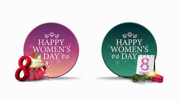Dwa okrągłe banery z pozdrowieniami do dnia kobiet