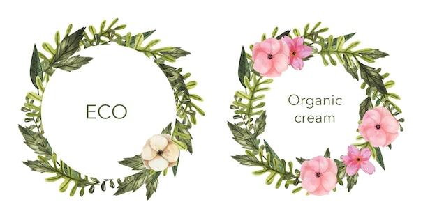 Dwa okrągłe szablony logo ziołowych z liśćmi i kwiatami.