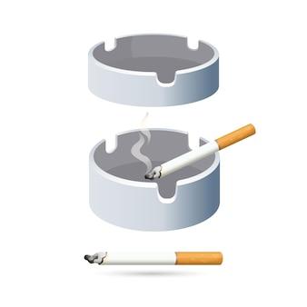 Dwa papierosy i popielniczki na białym tle. okrągłe niskie przedmioty do strząsania popiołu podczas procesu wędzenia. ilustracja rzeczy do palenia i talerze do zbierania kurzu.