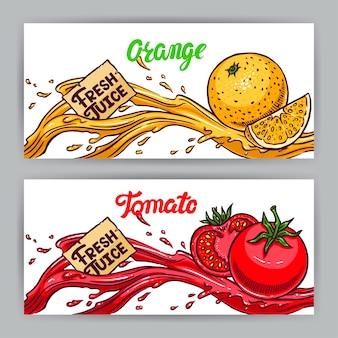 Dwa piękne banery. świeży sok. pomarańcza i pomidor. ręcznie rysowane ilustracji