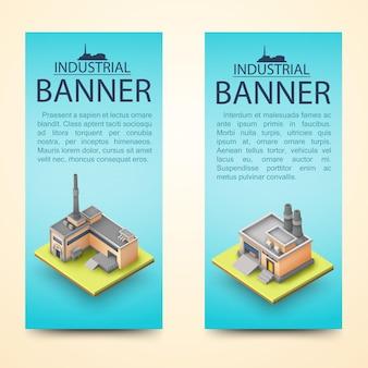 Dwa pionowe banery 3d budynku z opisami banerów przemysłowych na jasnoniebieskim tle