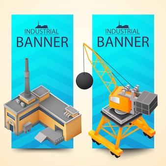 Dwa pionowe banery w jasnym kolorze ustawione na maszynie do wyburzania i budynku fabrycznym