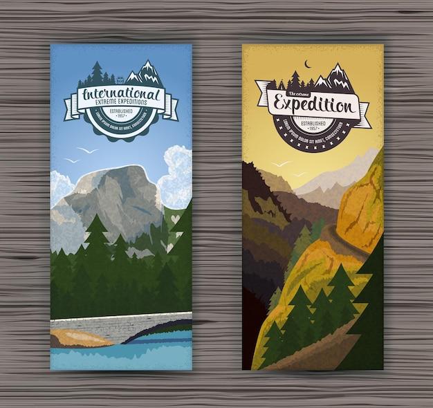 Dwa pionowe banery z krajobrazem lasu i szczytami górskimi dla turystyki