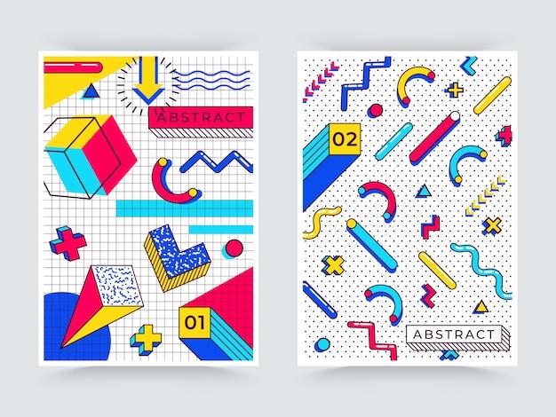 Dwa pionowe tła memphis. abstrakcyjne elementy z lat 90. z wielokolorowymi prostymi kształtami geometrycznymi. kształty z trójkątami, okręgami, liniami