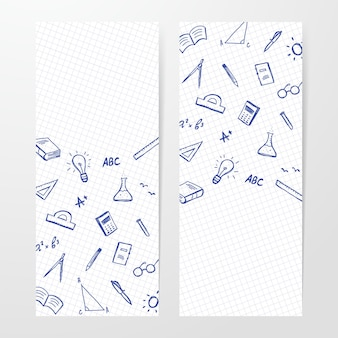 Dwa plakaty z ręcznie rysowane zestaw dostaw doddles na arkuszu zeszytu