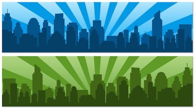 Dwa plakaty ze wschodem słońca i nowoczesne miasto sylwetka w stylu pop-artu