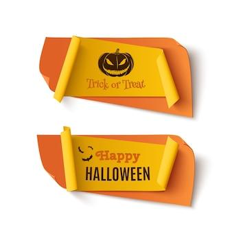 Dwa pomarańczowe i żółte banery halloween, treat or trick