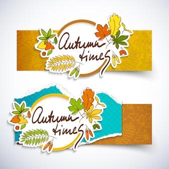 Dwa poziome banery jesiennych czasów ustawione na jesienną wyprzedaż z różnymi kolorowymi liśćmi