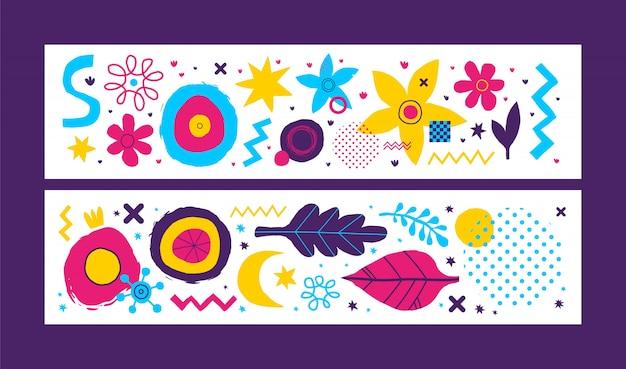 Dwa poziome bannery z elementami abstrakcyjnymi.