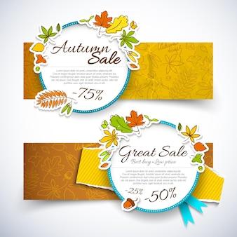 Dwa poziome pojedyncze jesienne banery sprzedaży ustawione z procentem rabatu i wielkie nagłówki sprzedaży