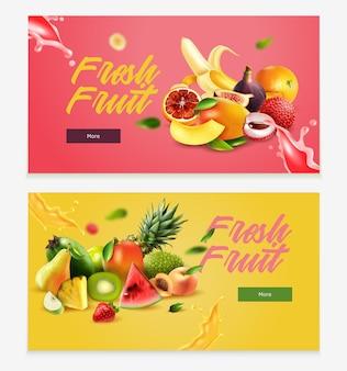 Dwa poziome realistyczne owoce poziomy baner ustawiony z nagłówkiem świeżych owoców i więcej przycisku