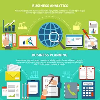 Dwa poziomy baner elementów biznesowych zestaw z opisami analitycznymi i planującymi oraz ilustracją elementów płaskich