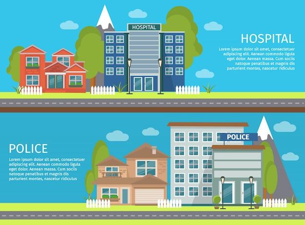 Dwa poziomy baner na białym tle kolorowy płaski budynek ze szpitalem i komisariatem policji