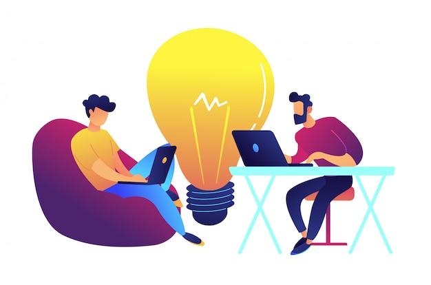 Dwa programisty pracuje z laptopem i dużą żarówka wektoru ilustracją.