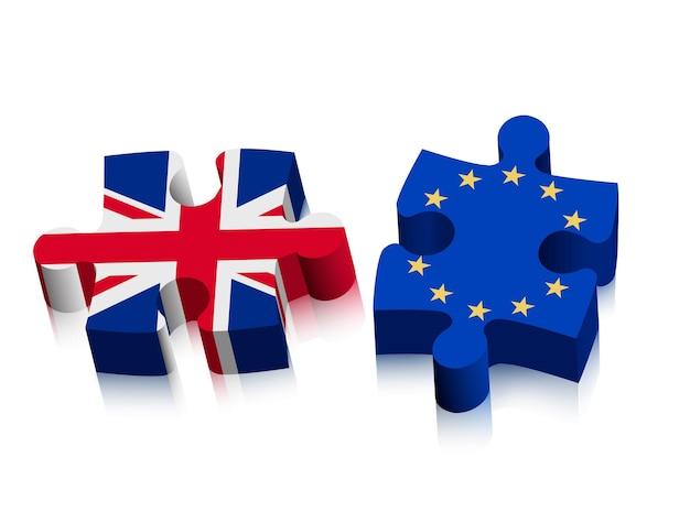Dwa puzzle - uk i eu. koncepcja brexitu. wektor.
