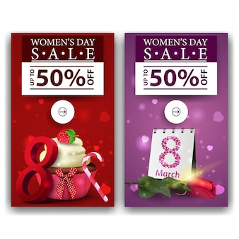 Dwa rabatowe banery na dzień kobiet z cupcake i rose