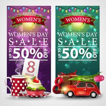 Dwa rabatowe banery na dzień kobiet z girlandą