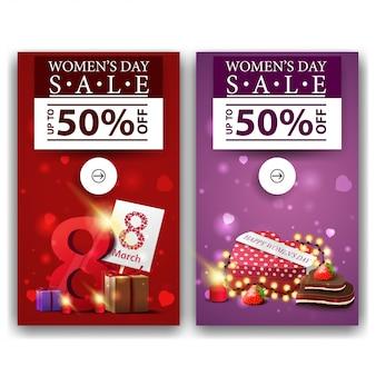 Dwa rabatowe banery na dzień kobiet z prezentami