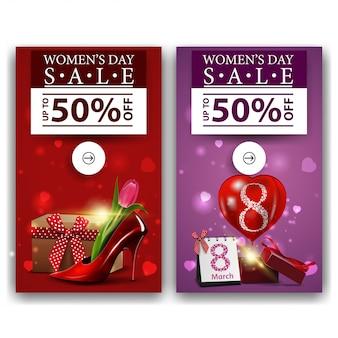 Dwa rabatowe banery na dzień kobiet