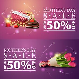 Dwa rabaty nowoczesnych banerów na dzień matki