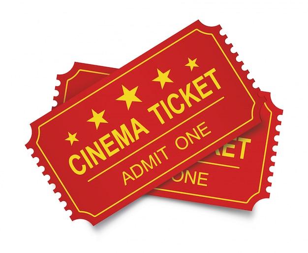 Dwa realistyczne bilety do kina na białym backgraund.