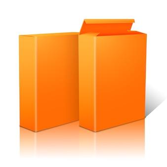 Dwa realistyczne jasne pomarańczowe puste pakiety papieru na płatki kukurydziane, musli, zboża itp. pojedynczo na białym tle z odbiciem, do projektowania i marki.