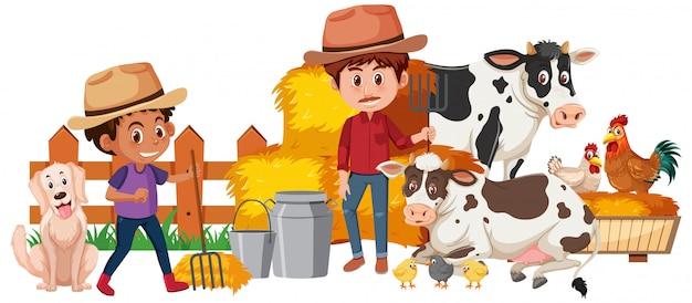 Dwa rolnika i zwierzęta gospodarskie na białym tle