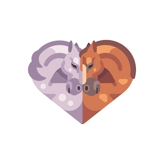 Dwa romantyczne konie w kształcie serca. ilustracja płaski walentynki.