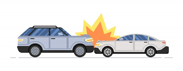 Dwa rozbite samochody. wypadek samochodowy